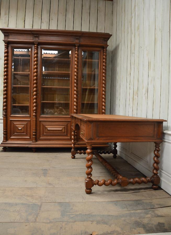 set of solid walnut bookcase and desk FAE543