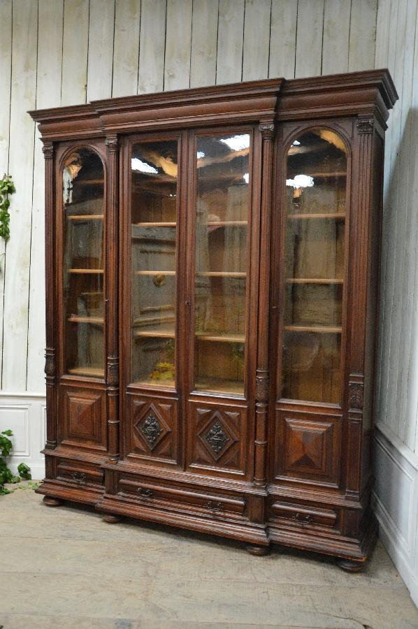 walnut bookcase with 4 doors and 3 drawers FAE518