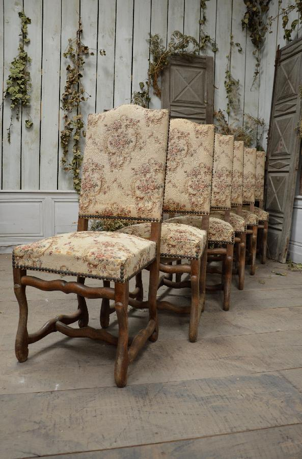 set of 6 chairs os de mouton style FAE571