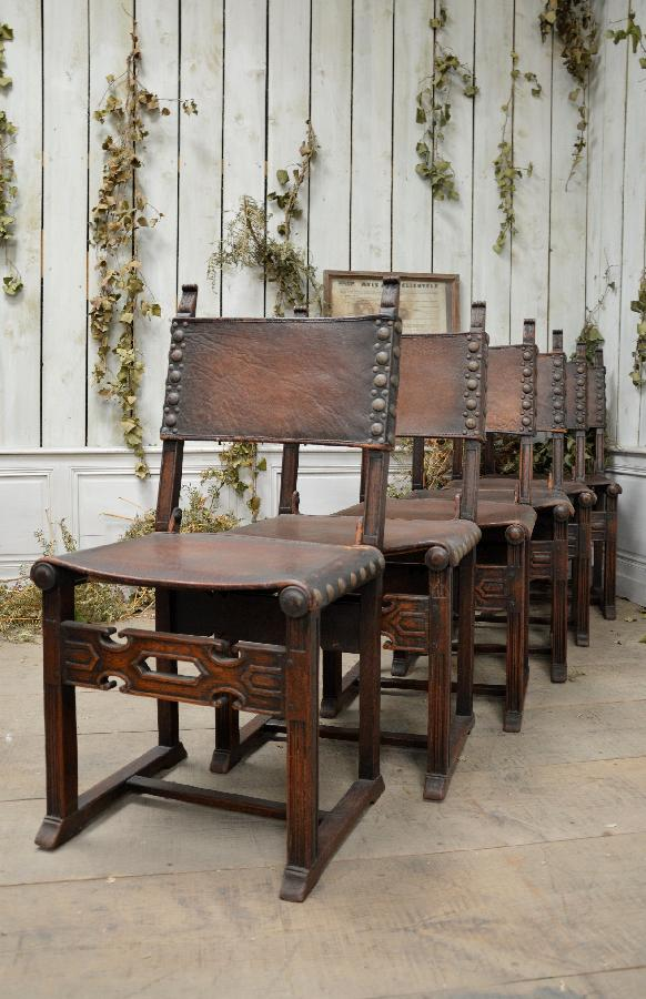 set of 6 oak and leather chairs spanish style FAE569