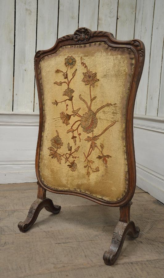 walnut louis xv style fireplace screen FAE580