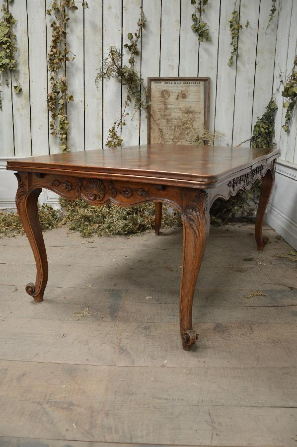 oak dining table with 2 extensions louis xv style FAE570