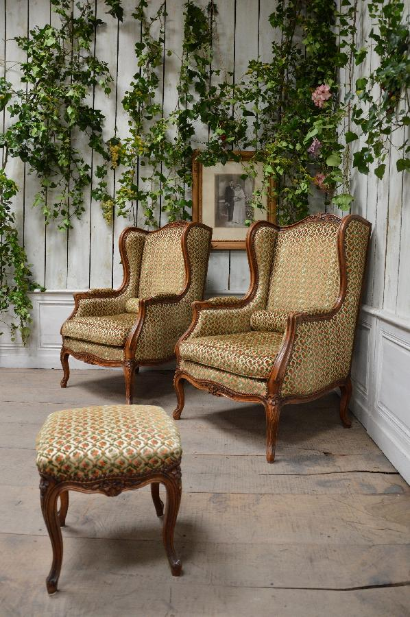 pair of armchairs louis xv style with one stool FAE464