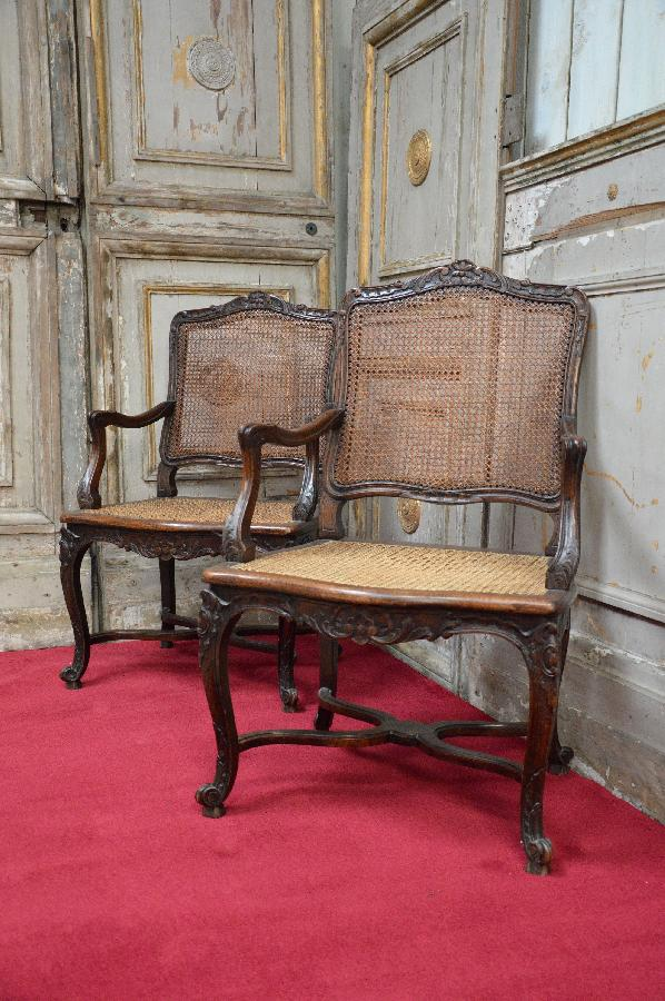 pair of caned oak armchairs FAE481