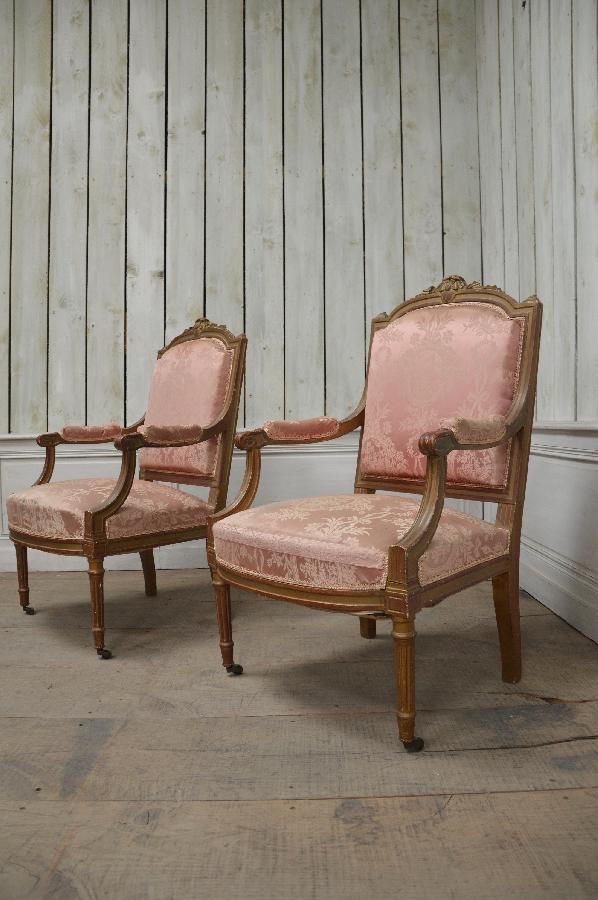 pair of giltwood armchairs louis xvi style FAE575