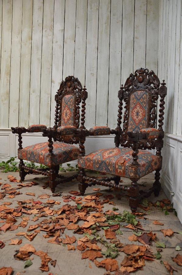 pair of oak armchairs henri ii style FAE492