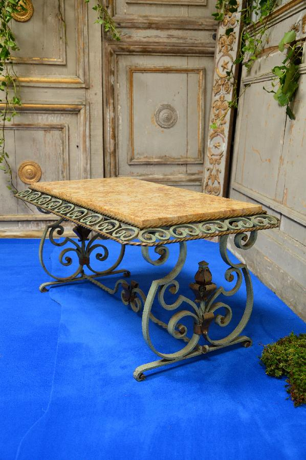 iron tea table with marble top FAE449