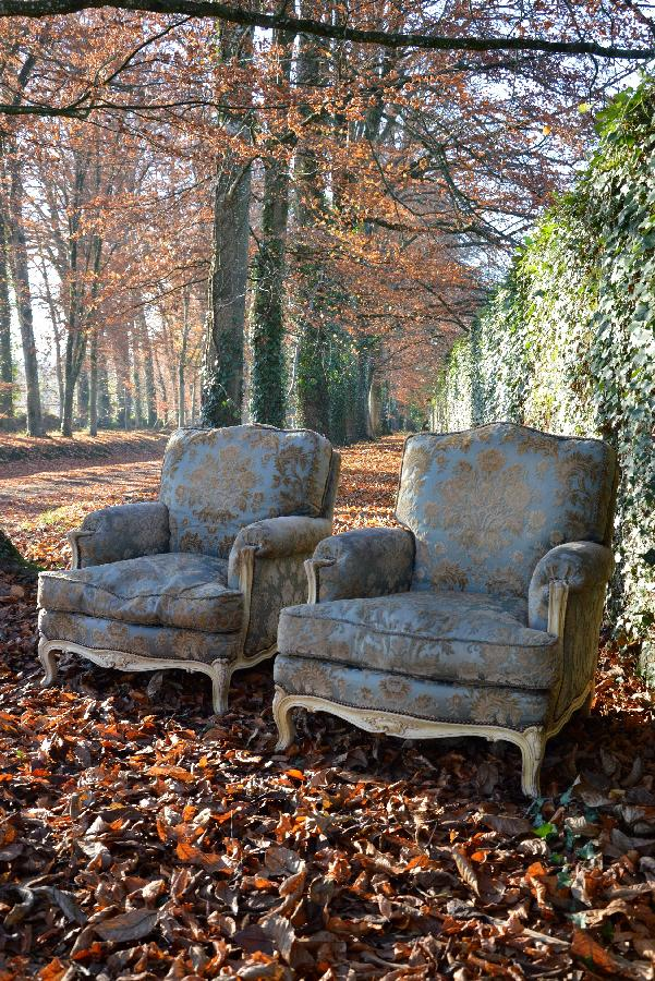 pair of painted armchair louis xv style FAE282