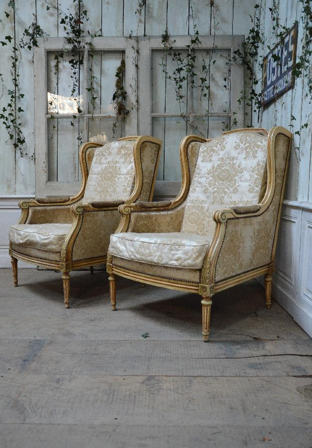 pair of painted armchairs louis xvi style FAE401