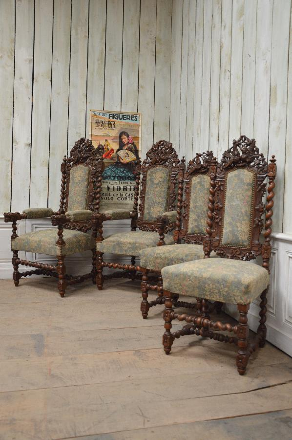 set of 2 armchairs and 2 chairs renaissance style FAE362