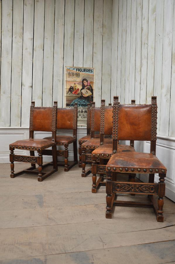 set of 6 chairs spanish renaissance style FAE354