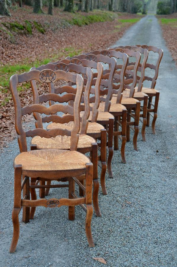 set of 8 chairs with rush seats FAE501