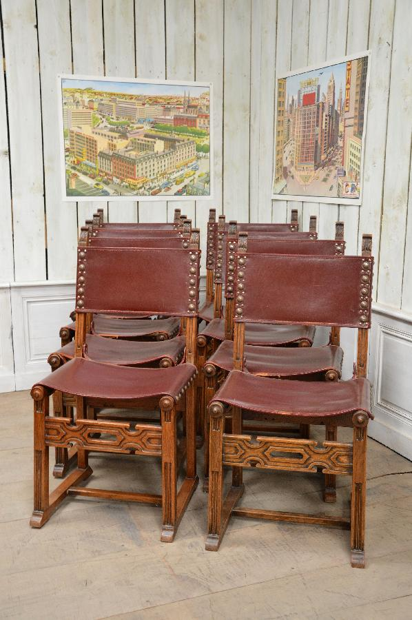set of leather 8 chairs FAE378